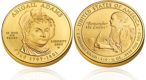 2007 First Spouse Abigail Adams Gold Uncirculated Coin