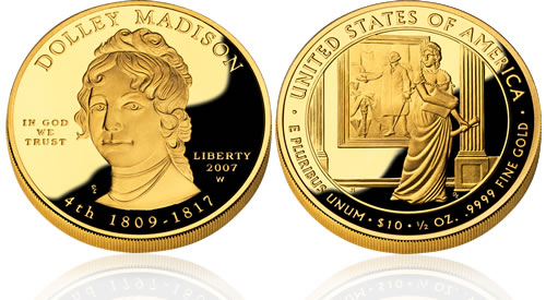 2007 First Spouse Dolley Madison Gold Proof Coin