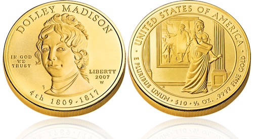 2007 First Spouse Dolley Madison Gold Uncirculated Coin