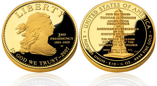 2007 First Spouse Jefferson's Liberty Gold Proof Coin