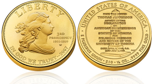 2007 First Spouse Jefferson's Liberty Gold Uncirculated Coin
