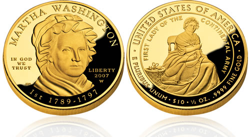 2007 First Spouse Martha Washington Gold Proof Coin