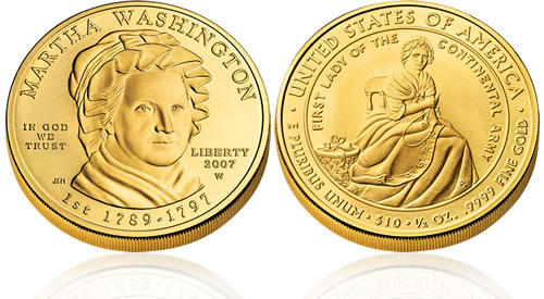 2007 First Spouse Martha Washington Gold Uncirculated Coin