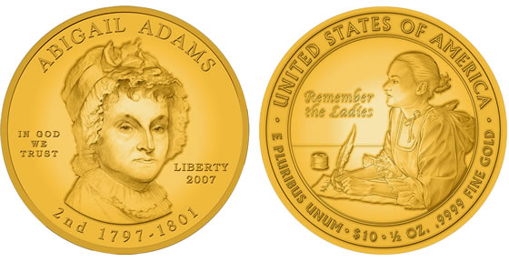 2007 Abigail Adams First Spouse Coin Designs
