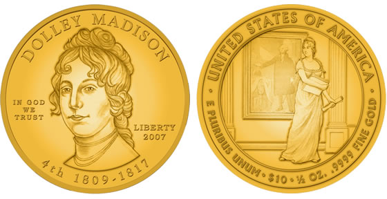 2007 Dolley Madison First Spouse Coin Designs