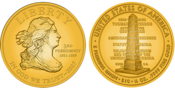 2007 Jefferson's Liberty First Spouse Coin Designs