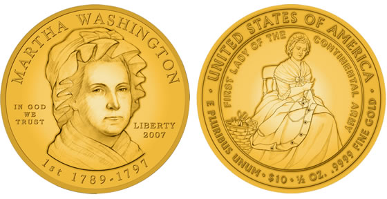 2007 Martha Washington First Spouse Coin Designs