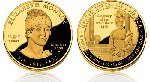 2008 First Spouse Elizabeth Monroe Gold Proof Coin