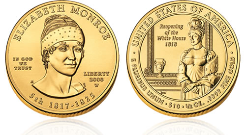 2008 First Spouse Elizabeth Monroe Gold Uncirculated Coin
