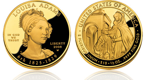 2008 First Spouse Louisa Adams Gold Proof Coin