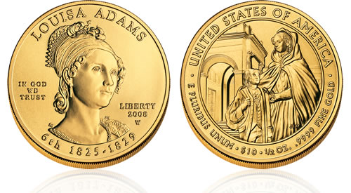 2008 First Spouse Louisa Adams Gold Uncirculated Coin