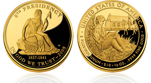 2008 First Spouse Van Buren's Liberty Gold Proof Coin