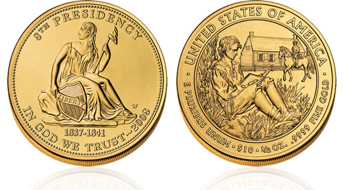 2008 First Spouse Van Buren's Liberty Gold Uncirculated Coin