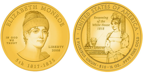 2008 Elizabeth Monroe First Spouse Coin Designs