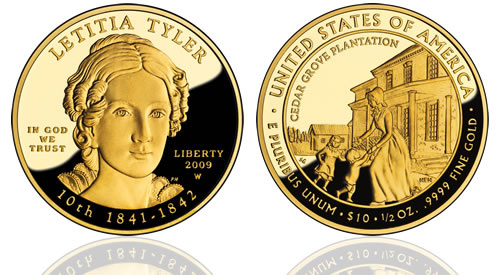 2009 Letitia Tyler First Spouse Gold Proof Coin