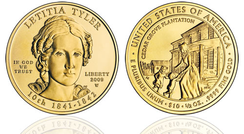 2009 Letitia Tyler First Spouse Gold Uncirculated Coin