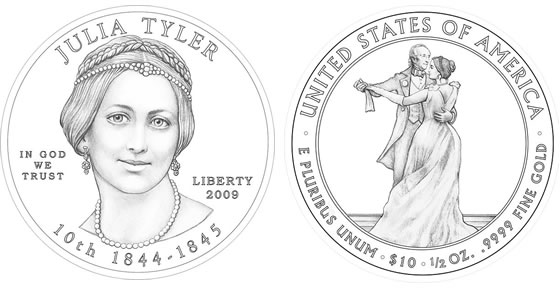 2009 Julia Tyler First Spouse Coin Designs