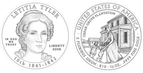 2009 Letitia Tyler First Spouse Coin Designs