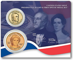 John and Letitia Tyler Presidential $1 Coin & First Spouse Medal Set