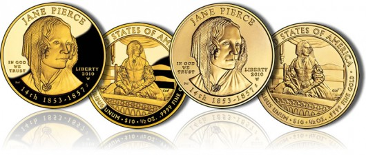 Jane Pierce First Spouse Gold Coins (Proof and Uncirculated)