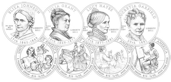 2011 First Spouse Coins Line Art
