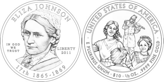2011 Eliza Johnson First Spouse Coin Line Art