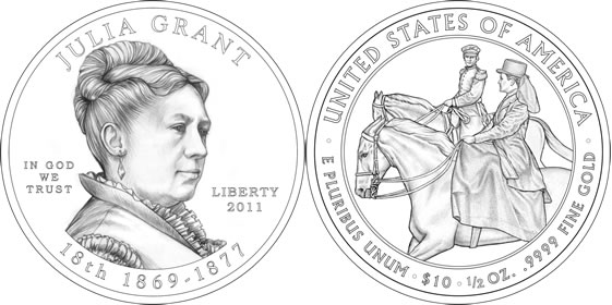 2011 Julia Grant First Spouse Coin Line Art