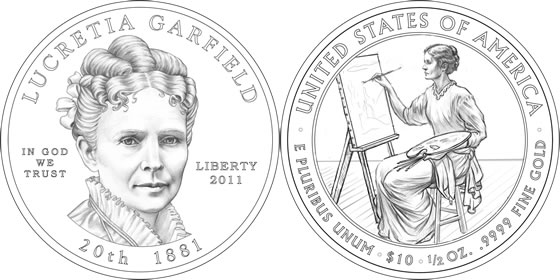 2011 Lucretia Garfield First Spouse Coin Line Art