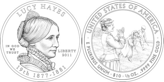 2011 Lucy Hayes First Spouse Coin Line Art