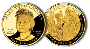 Proof Mary Todd Lincoln First Spouse Gold Coin