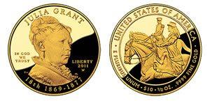 Proof Julia Grant First Spouse Gold Coin